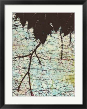 Framed Batik Hanging Leaves II Print
