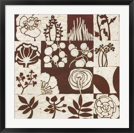 Framed Brown Botanical 16-Patch Print