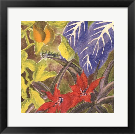 Framed Tropical Monotype I Print