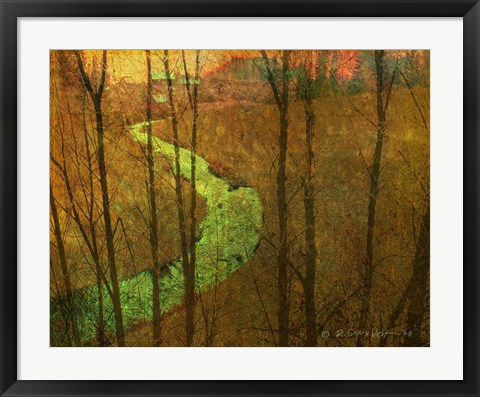 Framed Woodblock Stream I Print