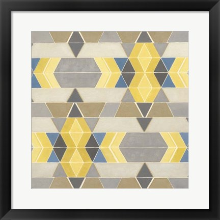 Framed Blue and Yellow Geometry I Print
