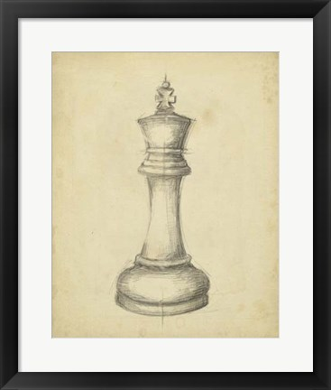 Framed Antique Chess I Print
