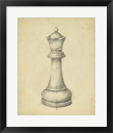 Framed Antique Chess III Print