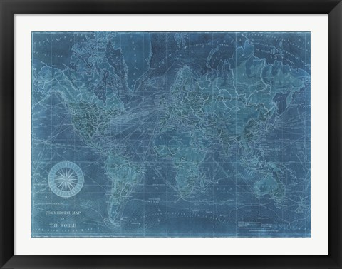 Framed Azure World Map Print