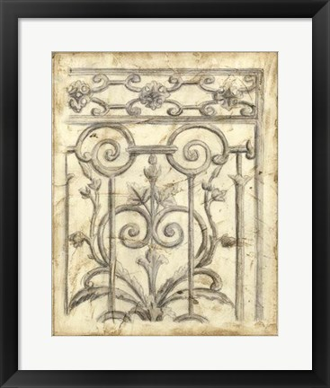 Framed Decorative Iron Sketch II Print