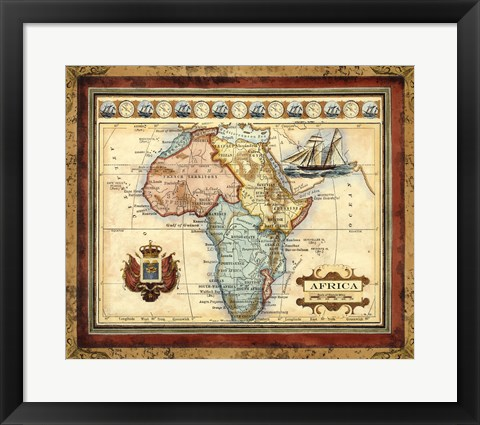Framed Map of Africa Print