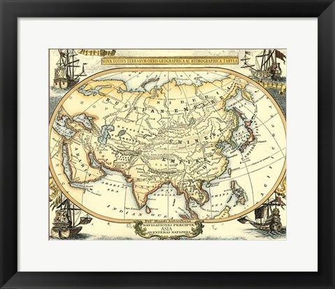 Framed Nautical Map of Asia Print