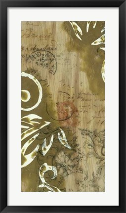 Framed Filigree and Wood I Print