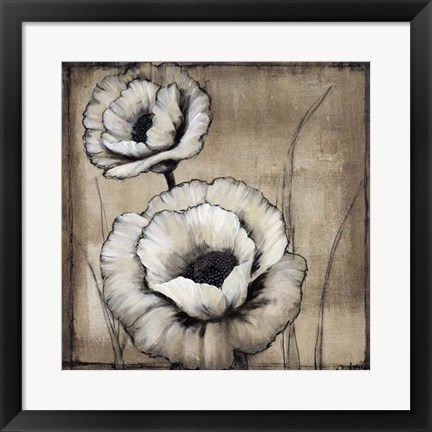 Framed Neutral Poppies II Print