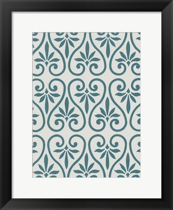 Framed Ornamental Pattern in Teal IX Print