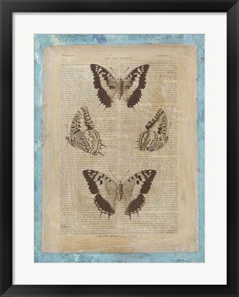 Framed Bookplate Butterflies II Print
