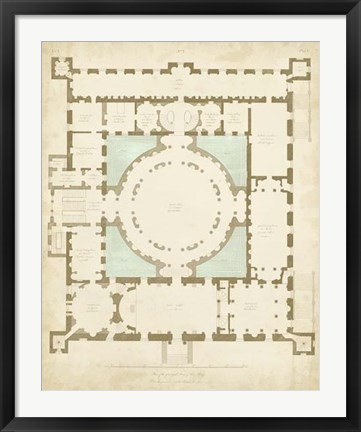 Framed Plan in Taupe & Spa I Print