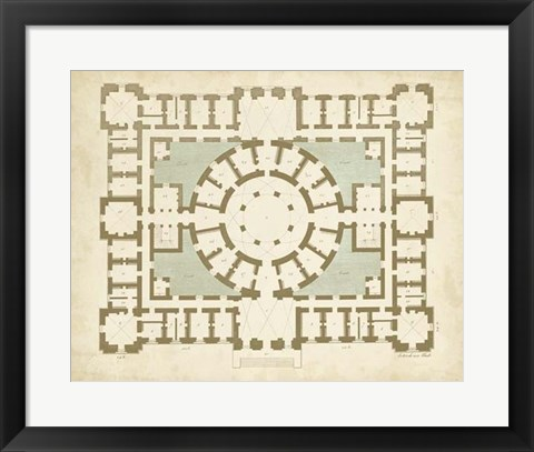 Framed Plan in Taupe & Spa II Print