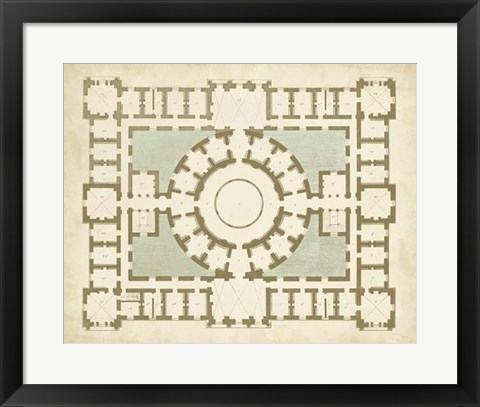 Framed Plan in Taupe & Spa III Print