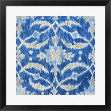 Framed Royal Ikat I Print