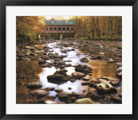 Framed Bridge Over Rocky Waters Print