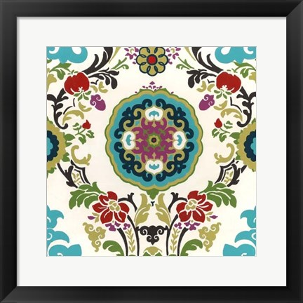 Framed Jewel-tone Damask IV Print