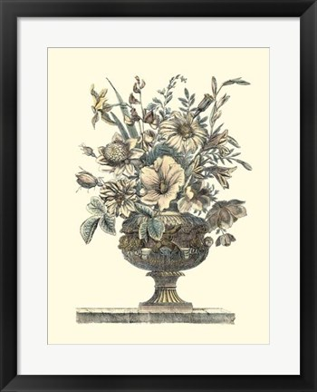 Framed Flowers in an Urn II (Sepia) Print