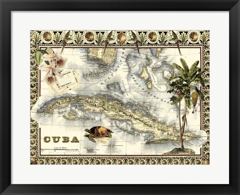 Framed Tropical Map of Cuba Print