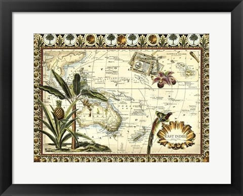 Framed Tropical Map of East Indies Print