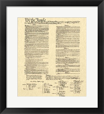 Framed Constitution on Khaki Print
