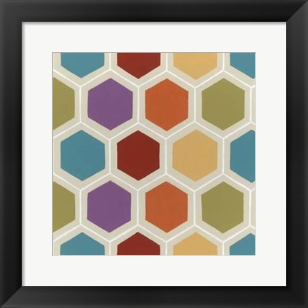 Framed Retro Pattern I Print