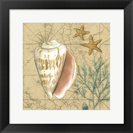 Framed Coastal Map Collage II Print