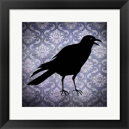 Framed Crow & Damask Print