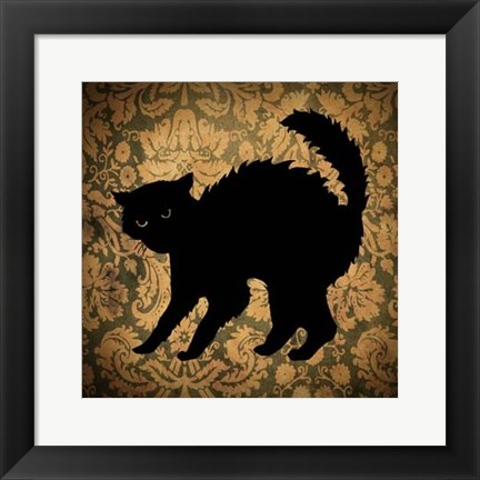 Framed Cat & Damask Print