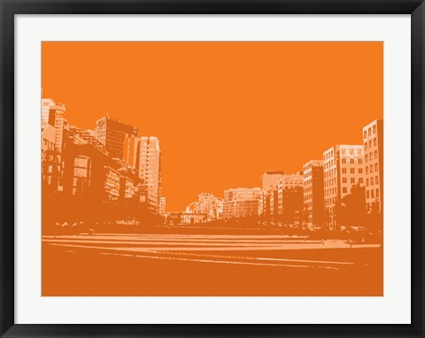 Framed City Block on Orange Print