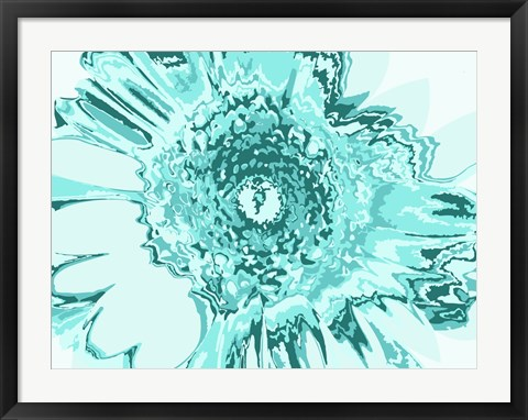 Framed Turquoise Abstract Flower Print