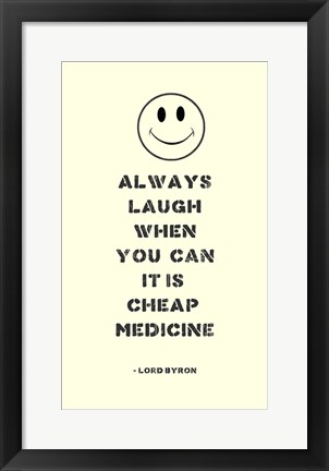 Framed Always Laugh Lord Byron Quote Print