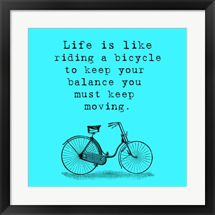 Framed Blue Einstein Bicycle Quote Square Print