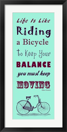 Framed Blue Einstein Bicycle Quote Print