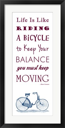 Framed Einstein Bicycle Quote Print