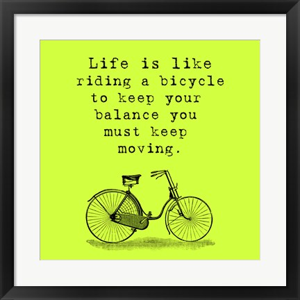 Framed Lime Einstein Bicycle Quote Print