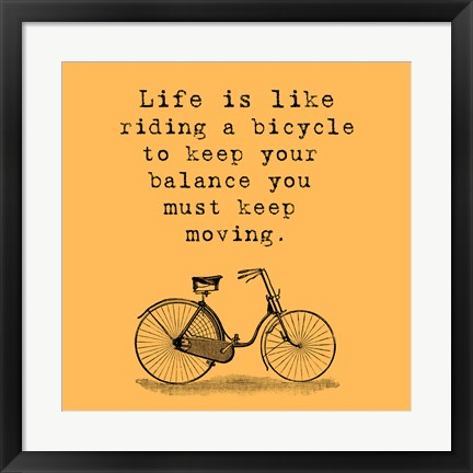 Framed Orange Einstein Bicycle Quote Print