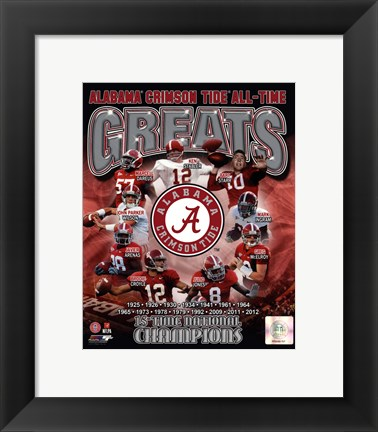 Framed University of Alabama Crimson Tide All Time Greats Composite Print