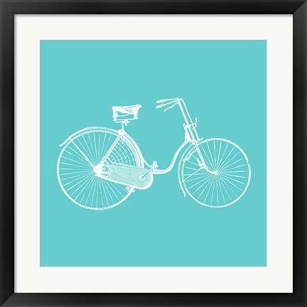 Framed Aqua Bicycle Print
