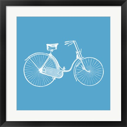Framed Blue Bicycle Print