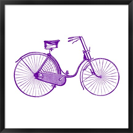 Framed Purple On White Bicycle Print