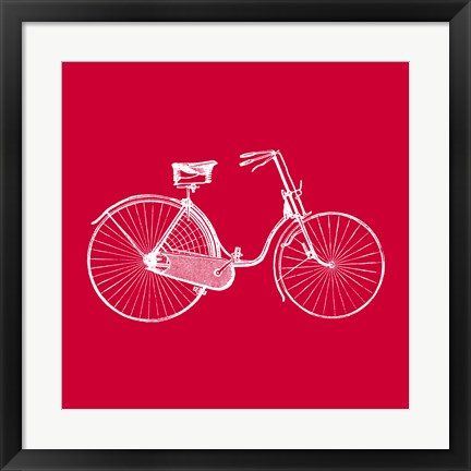 Framed Red Bicycle Print