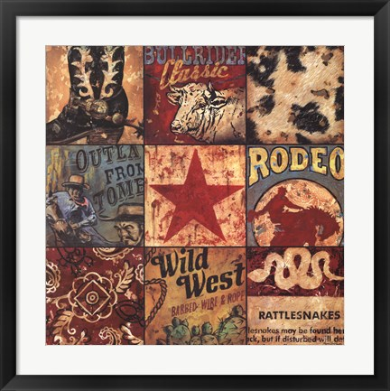 Framed Cowboy Collage Print