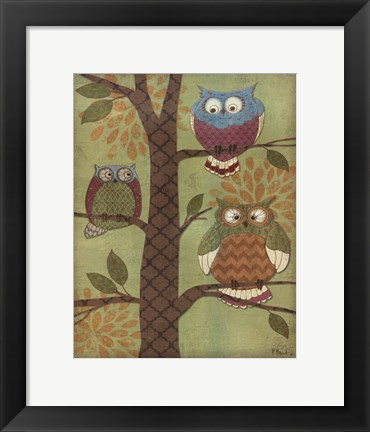 Framed Fantasy Owls Vertical I Print