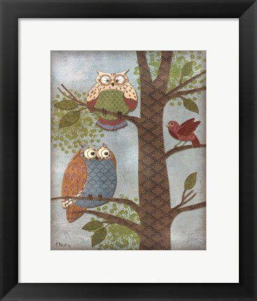 Framed Fantasy Owls Vertical II Print