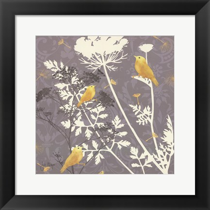 Framed Gray Meadow Lace I Print