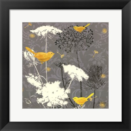 Framed Gray Meadow Lace II Print