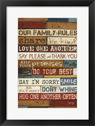 Framed Our Family Rules I Print