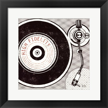 Framed Vintage Analog Record Player Print