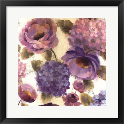 Framed Blue and Purple Flower Song III Print